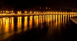 Réflexions de lumières jaunes Photo stock