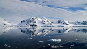 Réflexions de miroir parfaites des montagnes et des icebergs neigeux en Antarctique Images stock