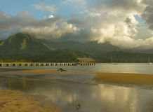 Réflexions de pilier de Halalei, Kauai Photos libres de droits