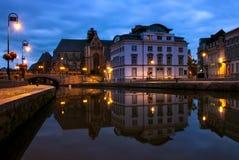 Réflexions de port de Graslei à Gand, Belgique Image stock