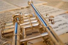 Réflexions de trompette Photographie stock libre de droits