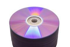 Réflexions iridescentes sur une pile de DVD Photos stock