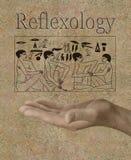 Réflexothérapie représentée dans des hiéroglyphes égyptiens antiques Photos libres de droits