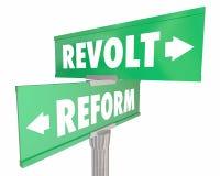 Réforme contre des plaques de rue de route de la révolution deux de révolte illustration de vecteur