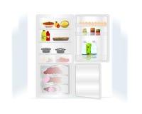 Réfrigérateur avec la nourriture, vecteur de cdr Photo stock