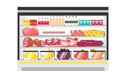 Réfrigérateur d'étalage pour la laiterie de refroidissement illustration de vecteur