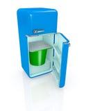 Réfrigérateur et yaourt Photo stock