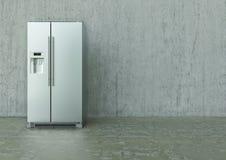 Réfrigérateur moderne d'acier inoxydable sur un mur en béton et un plancher - rendu 3D Images stock