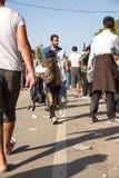 Réfugiés échoués dans Tovarnik Photos stock