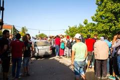 Réfugiés échoués dans Tovarnik Image stock