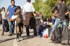 Réfugiés échoués dans Tovarnik Image libre de droits