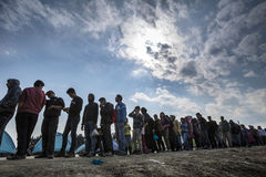 Réfugiés de Sirian bloqués dans Idomeni Image stock