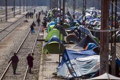 Réfugiés de Sirian bloqués dans Idomeni Photographie stock libre de droits
