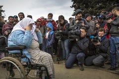 Réfugiés de Sirian bloqués dans Idomeni Photographie stock