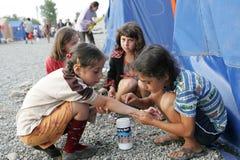 Réfugiés géorgiens dans Gori Photo libre de droits