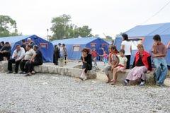 Réfugiés géorgiens dans le camp de Gori Image libre de droits