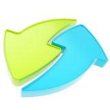 Régénérez ou réutilisez le graphisme d'emblème de flèche d'isolement Photo stock