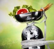 Régime de sport, calorie, bande de mesure photo stock