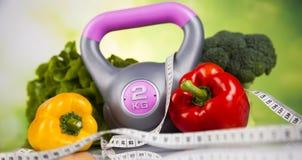 Régime de sport, calorie, bande de mesure photos stock
