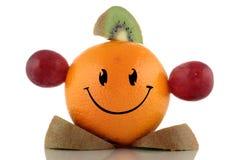 Régime heureux. Collection drôle de caractère de fruits Image libre de droits