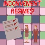 Régimes incommodes des textes d'écriture de Word Concept d'affaires pour l'adhérence excessivement stricte à un homme de rég illustration de vecteur