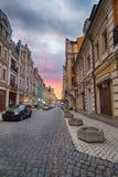 Région d'élite Vozdvizhenka Kiev le soir Photographie stock libre de droits