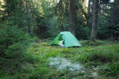 Région de camping avec les tentes multicolores dans la forêt Photo libre de droits