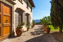 Région de chianti, Italie - 20 avril 2018 : Le château de Verrazzano en Greve dans le chianti, au coeur de la région de Classico  images libres de droits