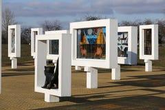 Région de Gomel, secteur de Zhlobin, VILLAGE ROUGE de PLAGE, Belarus - 16 mars 2016 : Complexe commémoratif en plage rouge Images libres de droits