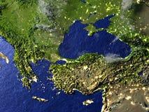 Région de la Turquie et de la Mer Noire la nuit sur le modèle réaliste de la terre Image libre de droits