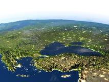 Région de la Turquie et de la Mer Noire sur terre de planète Photographie stock libre de droits