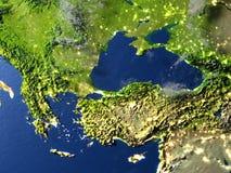 Région de la Turquie et de la Mer Noire sur terre de planète Photo libre de droits