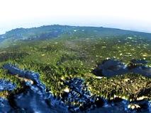 Région de la Turquie et de la Mer Noire sur terre la nuit - océan évident la Floride Image stock
