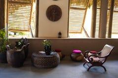 Région de salon dans le lobby de l'hôtel de tourisme des Caraïbes Photographie stock libre de droits