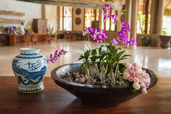Région de salon dans le lobby de l'hôtel de tourisme des Caraïbes Image stock