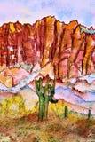 Région de région sauvage de montagnes de superstition d'aquarelle Phoenix Arizona illustration de vecteur