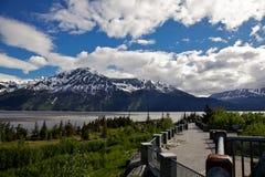 Région de visionnement de marée de fâcheux, route de Seward, Alaska Image libre de droits