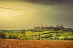 Région enrichie médiévale de chianti de ville de Monteriggioni, Sienne, Tusca photo libre de droits