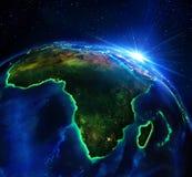 Région terrestre en Afrique, la nuit illustration de vecteur