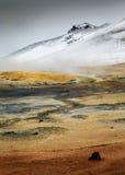 Région volcanique active géothermique de Namaskard en Islande du nord-ouest Images libres de droits