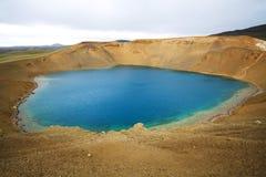 Région volcanique de Krafla, cratère de Viti, Islande Images stock