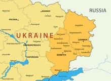 Régions de Donetsk et de Lugansk de l'Ukraine - carte illustration libre de droits