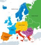 Régions de l'Europe, carte politique, avec les pays simples Photo stock