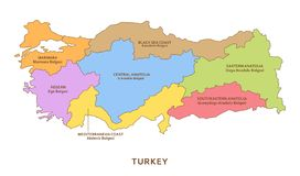 Régions de la Turquie, fond de géographie de vecteur illustration de vecteur