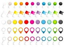 Réglé de cinq indicateurs colorés différents de drapeaux de goupilles et d'ombre d'aimants illustration libre de droits