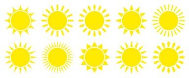 Réglé de Dix icônes graphiques jaunes simples de Sun illustration libre de droits