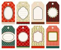 Réglé de huit étiquettes du fabriquant de Noël modelez le vert rouge beige illustration de vecteur