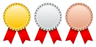 Réglé de l'argent d'or de trois insignes de récompense en bronze avec le ruban rouge illustration stock
