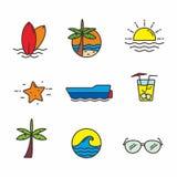 Réglé de l'illustration relative de vecteur de plage, la plage a rapporté des icônes illustration de vecteur