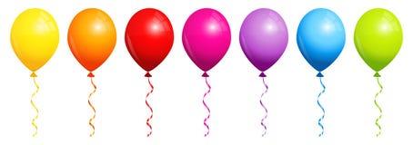 Réglé de sept ballons d'arc-en-ciel illustration stock